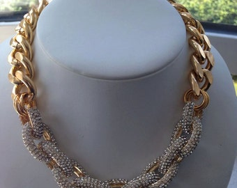 Gold Pave Chain Link chunky necklace, Chunky Jewelry