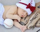 Knitted Baby Girl's First Baseball Beanie Hat / Photo Prop With Bow