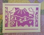 Easter Morning Papercut with Bunnies Butterflies Flowers and Songbird Wall Art