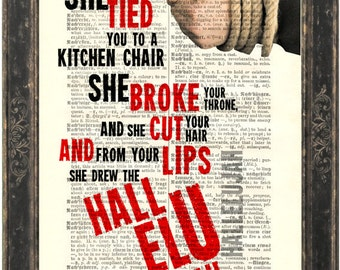 Leonard Cohen Hallelujah song lyric Print on upcycled Vintage German English Dictionary Page