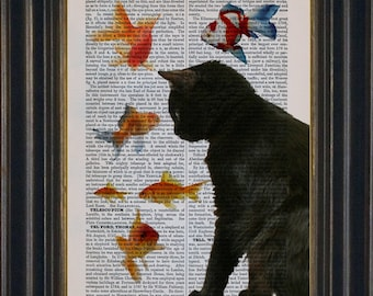 Cat Lover Print  Black Cat with Goldfish Print on repurposed vintage Dictionary  page Book Art Print Mixed Media