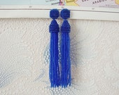 Beaded Tassel Clip-On Earrings Navy (made to order)