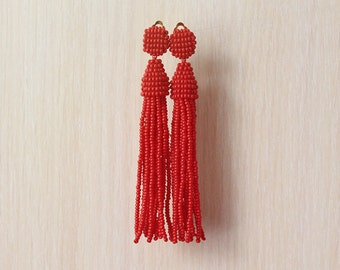 Beaded Tassel Clip-On Earrings Red (made to order)