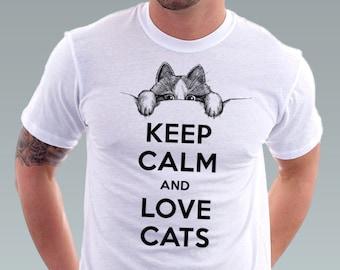 Keep Calm and Love Cats tshirt Hipster Geek Cat Kitty Cat Shirt Pet Animal Art Men T-Shirt - White Tee S, M, L, XL, XXL