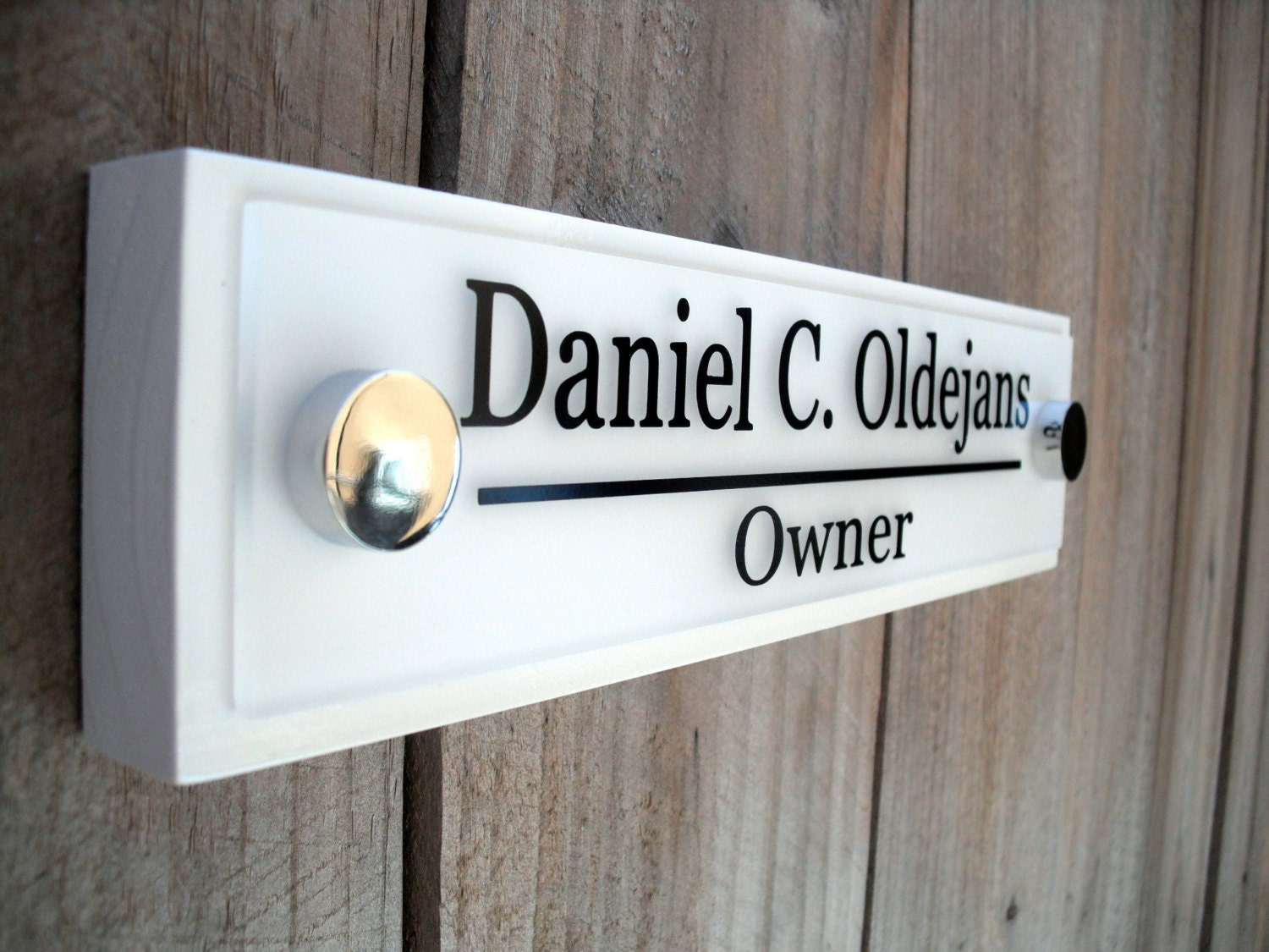 office door wooden plaque with acrylic name plate