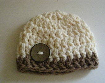 Crochet Baby Hat  Photo prop baby boy baby girl  button beanie in Tan and Ivorychunky