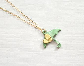 Gold Necklace 14K Gold Filled Tiny Heart Initial Necklace Monogram Seafoam Umbrella Womans Delicate Whisper Necklace Simple Light Chain