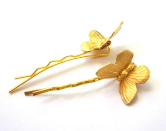 Gold Bobby Pin Set Butterfly Hair Pin Set of Two Gold Toned Bobby Pins Simple Natural Vintage Style Woodland