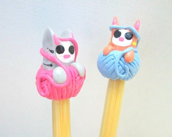 Yarn Cats Knitting Needles-- handmade toppers on premium bamboo size 10 1/2