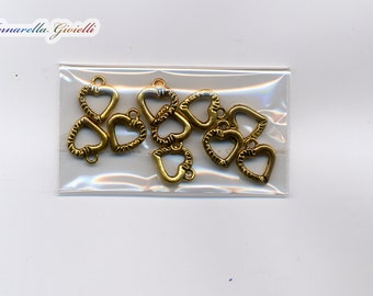 10 pcs heart charms 12x15mm golden color