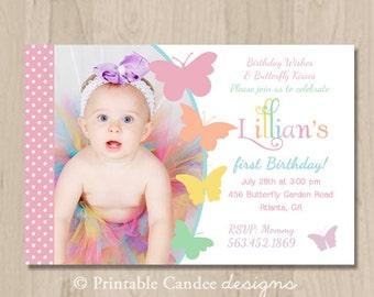 Pastel Butterfly Birthday Invitation - DIY Printable