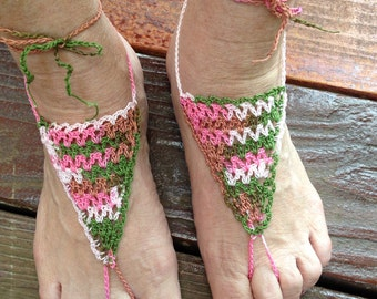 Sandals, Barefoot Sandals, Women or Girls Pink Camo Crochet Barefoot Sandals with Ankle Ties Style 6