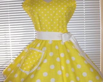 Fifties Style Retro Apron Yellow White Large and Small Polka Dots Circular Flirty Skirt