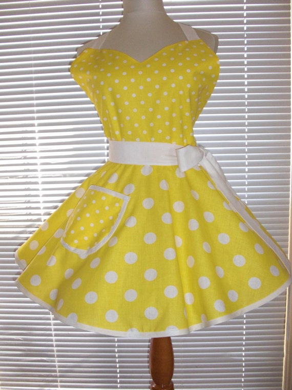 1950's Style Retro Apron Yellow White Large and Small Polka Dots Circular Flirty Skirt