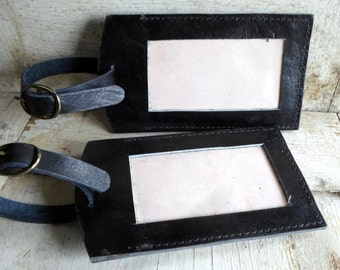 Luggage Tags, Leather, Never Used, 2 Tags, Black Leather, Brass Buckle Straps, Suitcase, 1950s, 1960s, Mad Men, Large Tags, All Vintage Man