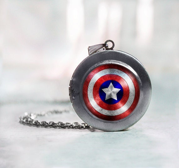 captain america inspired locket necklace jewelry