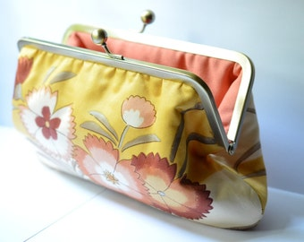 Yellow Clutch, Frame Cosmetic Purse, Floral Bloom Kisslock Clutch:  Kisslock Frame Purse, Cosmetic Pouch