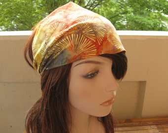 Festival Head Wrap Womens Headband Fabric Headband Gypsy Batik Head Wrap Yellow Orange Blue Fireworks Batik Bandana Womens Gift for Her