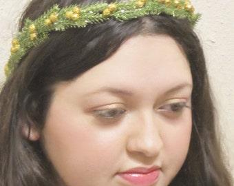 Glitter headband, leaf headband, wedding headband, tiara headband, hair wreath, hair vine, hair crown, gold bridal headband, green headband