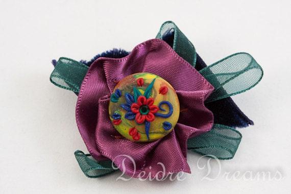 SALE - Flower Brooch, Corsage Brooch, Polymer Clay Brooch, Polymer Clay Flowers, Boho Brooch, Vintage Look Corsage, Boho Jewelry