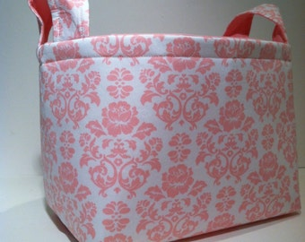 Fabric Storage Basket Bin Organizer Storage Container- Pink Damask Print on White with Solid Pink Interior
