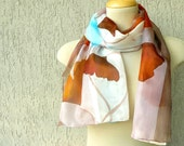 Brown ginkgo silk scarf - autumn scarf, brown colors, hand painted