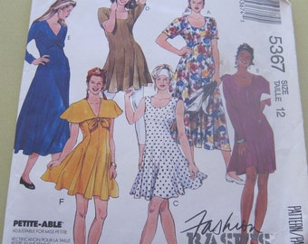 McCalls's 5367 Knit Dress in 3 sizes with leggings Size 12  Vintage 1991 Pattern