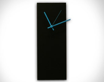 Modern Wall Clock 'Blackout Blue Clock' - Midcentury Wall Clock Black Metal Unique Wall Clocks w/ Blue Hands - Minimalist Clocks