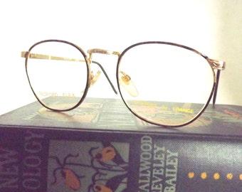 Gold Metal Round Tortoise Shell Eyeglasses, Vintage Womens Preppy Eyewear, New Old Stock Frames