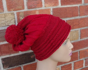 Red 100% Wool,Cable Hand Knit Hat with pom pom