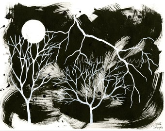 """Storm-11""""x14"""" ink and acrylic on paper-black and white-Tree Art-Tree Painting"""