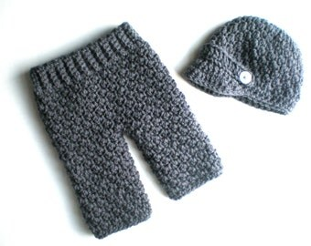 PATTERN:  Baby Boy Longies and Newsie Hat Set, 2 sizes, Easy Crochet PDF, Instant DigiTaL DoWnLoaD, Pants, Beanie, Permission to Sell