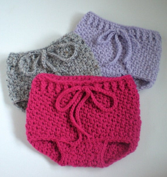Free Crochet Pattern For Easy Diaper Cover : PATTERN: Bloomers, 3 SIZES, baby girl diaper cover, pants ...