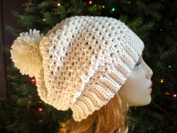 Easy Crochet Winter Hat Patterns : PATTERN: Snow Bunny Hat easy crochet slouch beanie adult