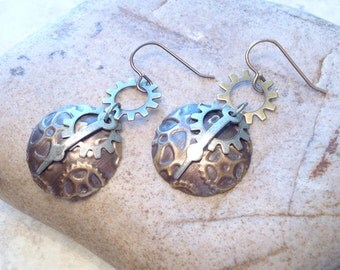 Steampunk Mixed Metal Embossed Boho Earrings