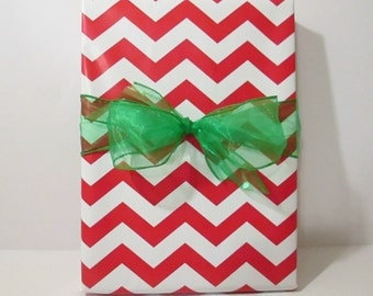 Red Chevron Gift Wrap, wrapping paper, table runner, 10 feet long x 24 inches wide