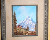 Beautiful Original German Alpine Landscape Framed Art