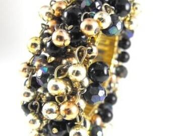 Beaded Cha Cha Bracelet Bronze Gold Black Aurora Borealis Black Beads