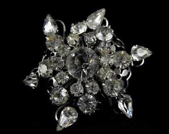 Lucky Star Brooch Clear Rhinestone Silvertone Sparkler
