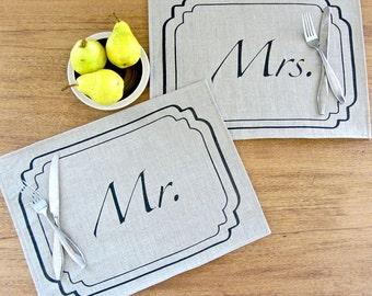 Mr. & Mrs. Placemat Set- Natural / Black