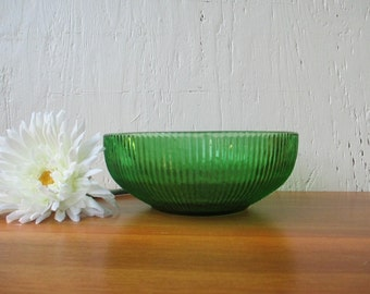 Emerald Green Bowl - Vintage Brody, Ribbed Pattern Fruit Snack Flower Bowl, Vintage 1950-60 / Mid Century Retro Kitchens