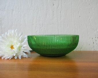 Emerald Green Bowl - Vintage Brody, Ribbed Pattern Fruit Snack Flower Bowl, Vintage 1950-60 / Mid Century Retro Kitchens