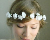 White Rose Flower Crown - Rustic Weddings Bridal - READY TO SHIP