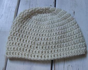 Crochet Mens Beanie In Cream- Mens skull Cap MADE TO ORDER