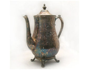 Vintage Silver Plated Coffee/Tea Pot - Holloware - Home Decor - International Silver Co - Housewares - Traditional Design - Made in USA