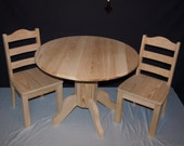 Large Pedestal Table with 2 Ladder Back Chairs