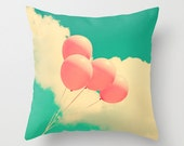 Pillow cover, pink pillow, coral pillow, turquoise pillow, aqua pillow, balloon, nursery art, girl nursery decor, beach pillows