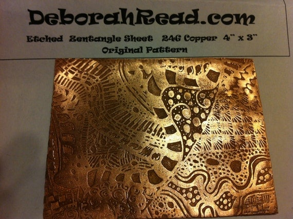 "Etched 24G Copper Sheet - 3"" x 4""  - Zentangle Pattern"