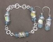 Bracelet-Holiday Bracelet-Blue Bracelet-Silver Bracelet-Jumpring Bracelet-Blue Jewelry-Silver Jewelry-Holiday Jewelry-Christmas-Jewlery Set