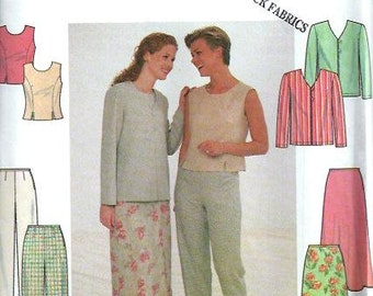 Misses Jacket, Top, Pants & Skirt Pattern, Simplicity 7970, Size 10, 12, 14 UNCUT